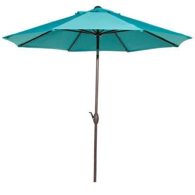 9 ft. Outdoor Table Market Umbrella with Push Button Tilt/Crank Patio Umbrella in Turquoise