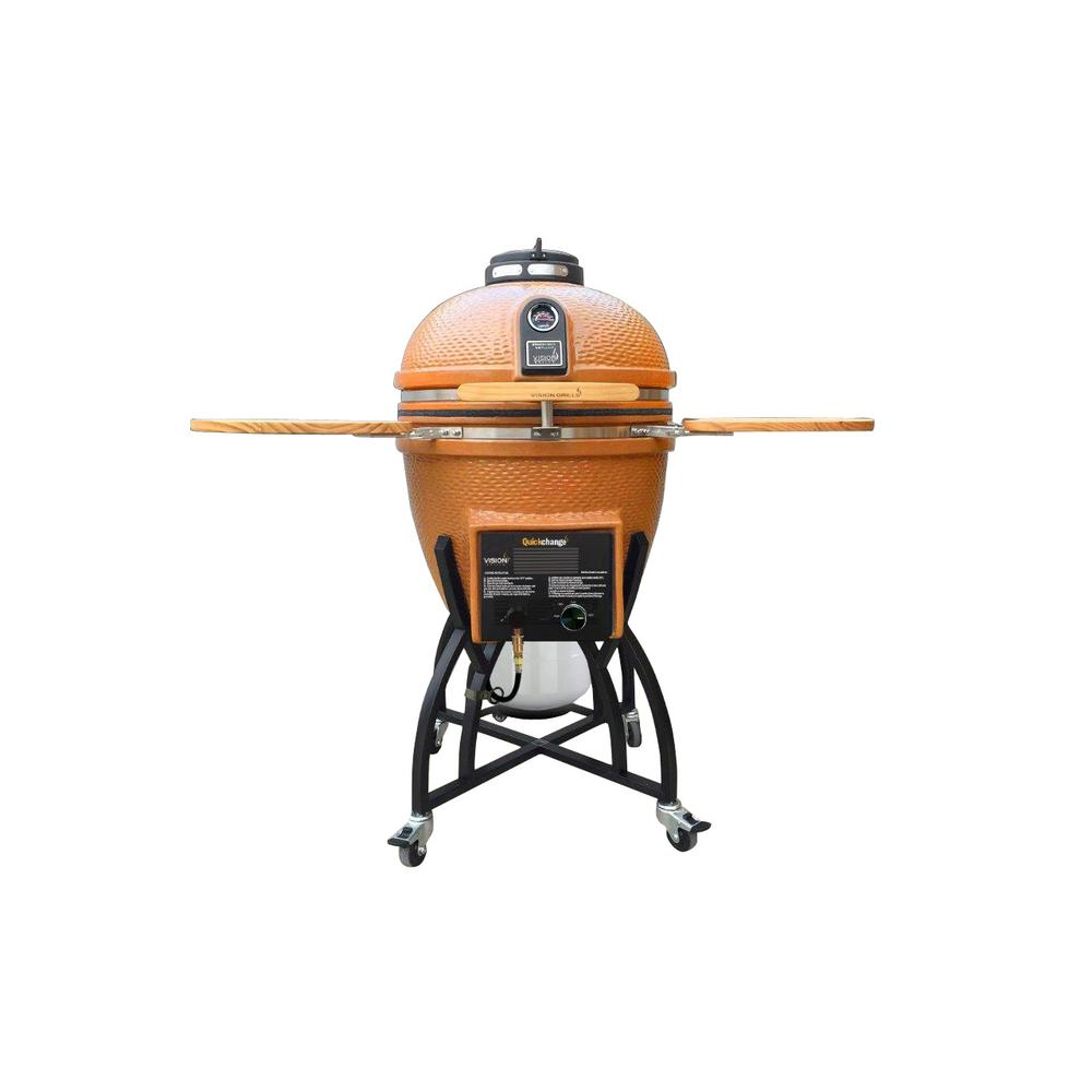 Vision Grills Kamado Char-Gas Dual Fuel Charcoal/Gas Grill in Orange with Grill Cover