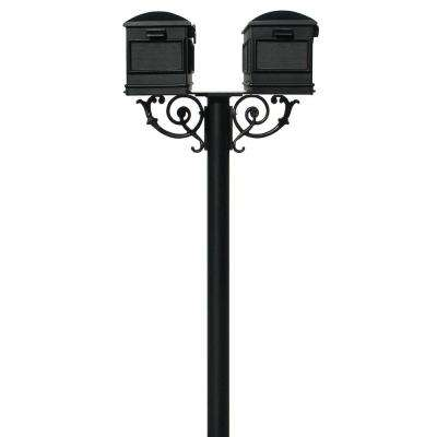 Hanford Twin Black Non-Locking Post Mailbox System with Scroll Supports and 2-Lewiston Mailboxes