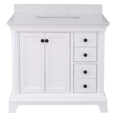 Strousse 37 in. W x 22 in. D Vanity Cabinet in White with Engineered Stone Vanity Top in Ice Diamond with White Sink