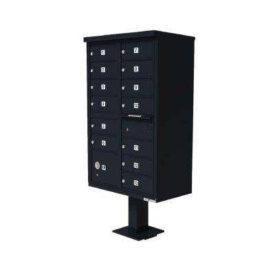 Vital 1570 Series Black CBU with 13 Mailboxes, 1 Outgoing Mail Compartment, 1 Parcel Locker