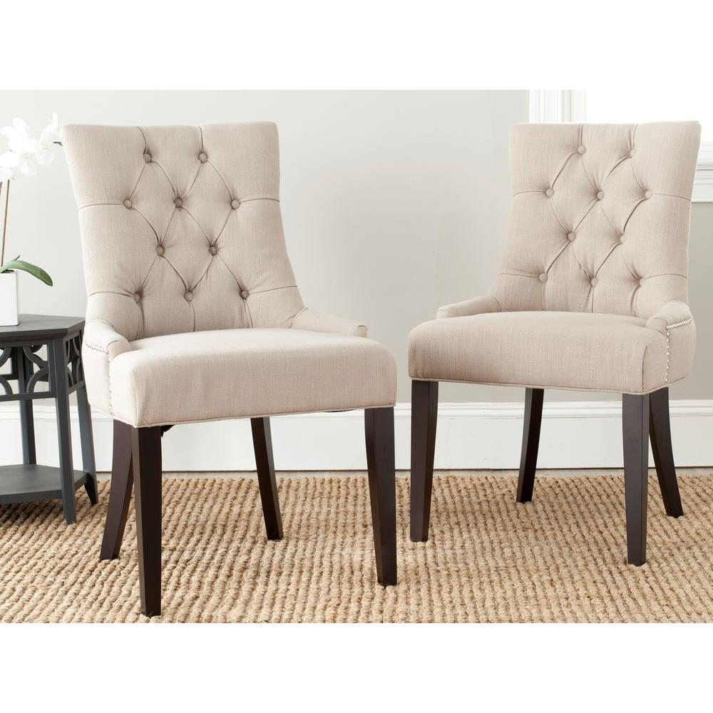 Abby True Taupe Linen Blend Side Chair (Set of 2)