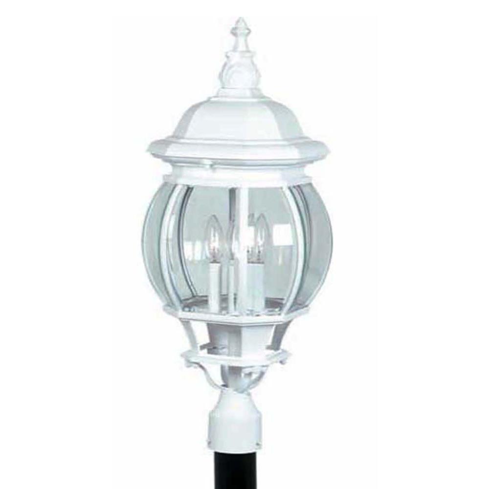 Sergej 3-Light Outdoor White Post Light