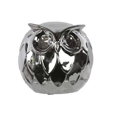 6.25 in. H Owl Decorative Figurine in Gray Polished Chrome Finish