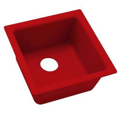 Premium Quartz Drop-In/Undermount Composite 16 in. Bar Sink in Maraschino