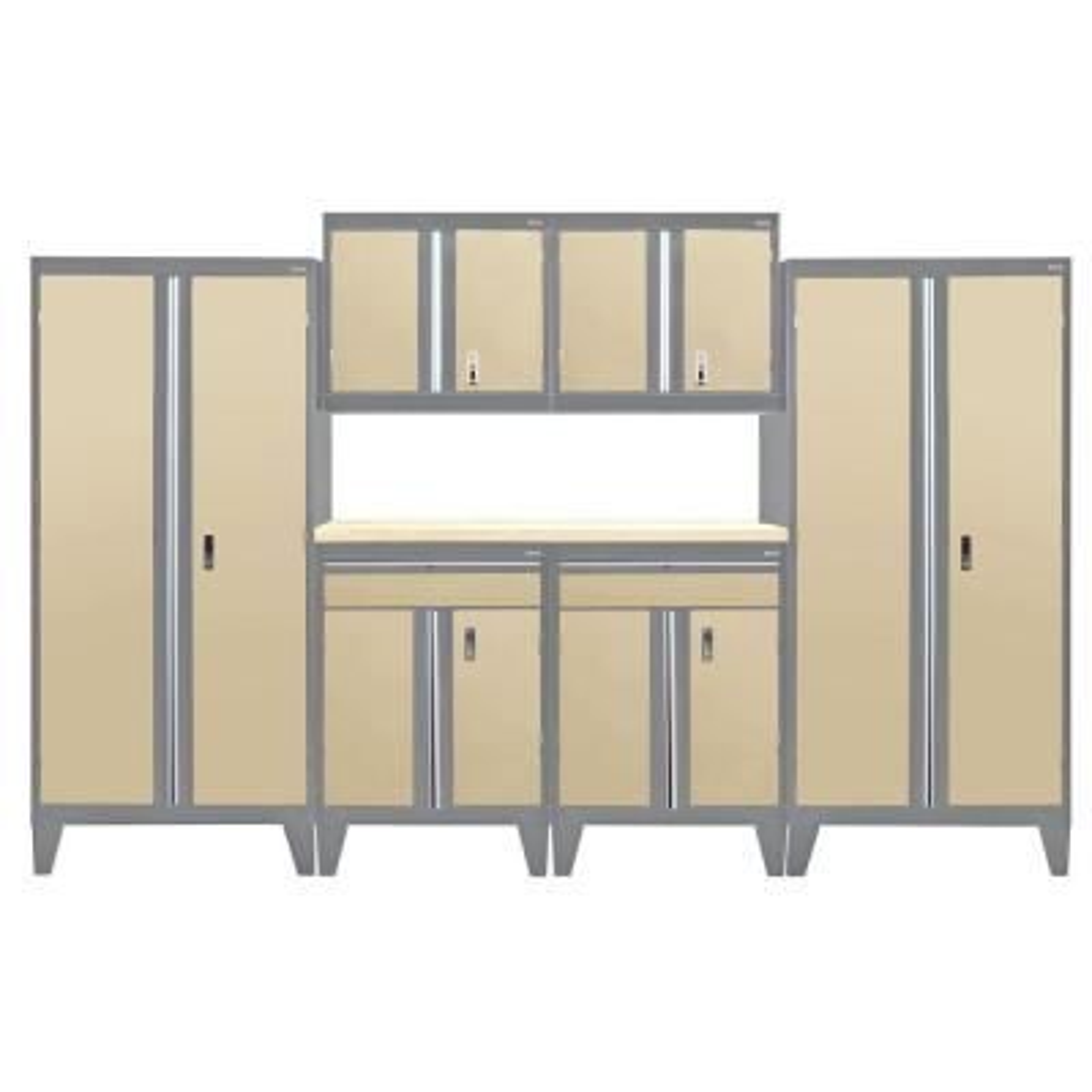 79 in. H x 144 in. W 18 in. D Modular Garage Welded Steel Cabinet Set in Charcoal/Tropic Sand (7-Piece)
