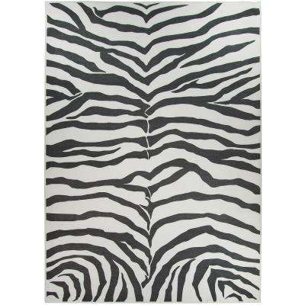 Washable Zebra Safari Black 5 ft. x 7 ft. Stain Resistant Area Rug