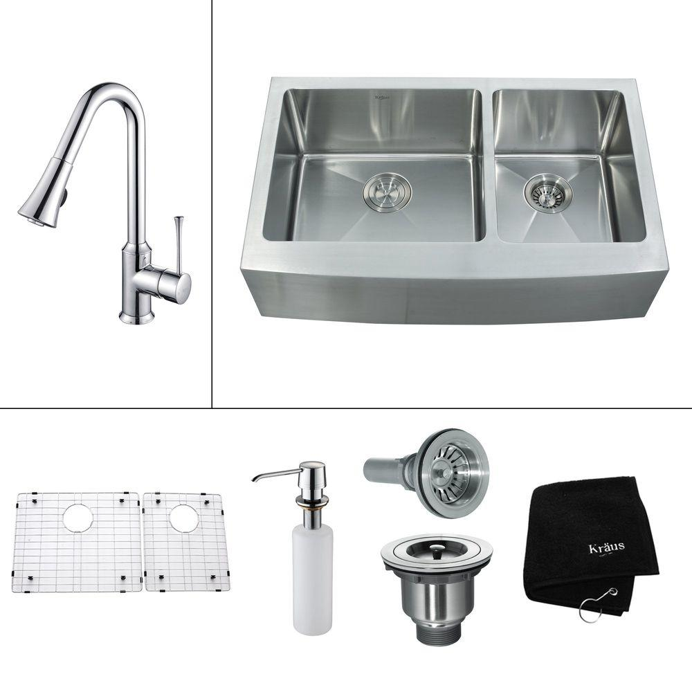 KRAUS All-in-One Farmhouse Stainless Steel 35.9x20.7x15.53 0-Hole Double Bowl Kitchen Sink, Kitchen Faucet Chrome-DISCONTINUED