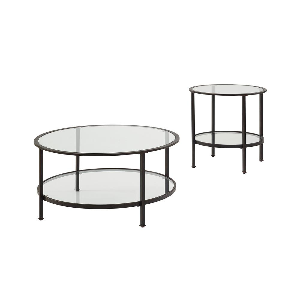 Crosley Furniture Aimee 2 Piece Oil Rubbed Bronze Round Glass Coffee Table Set With Shelf Kf13021bz The Home Depot