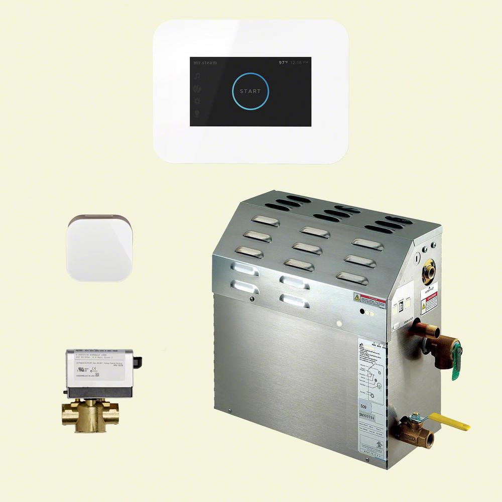 7.5kW Steam Bath Generator with iSteam3 AutoFlush Package in White