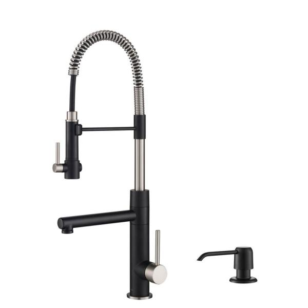 Artec Pro Single-Handle Pull Down Sprayer Kitchen Faucet with Soap Dispenser in Spot Free Stainless Steel Matte Black