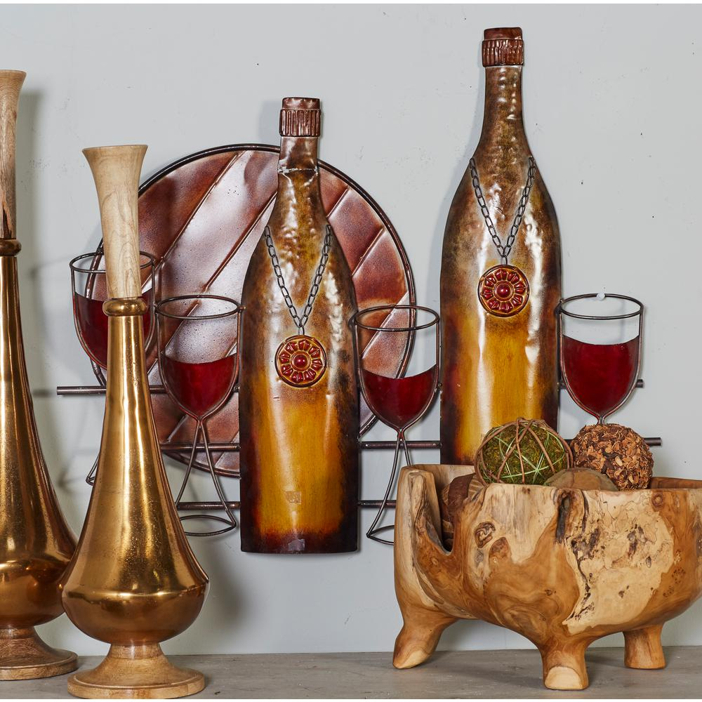 Iron Multicolored Wine Bottles, Stem Glasses, and Platter Metal Work