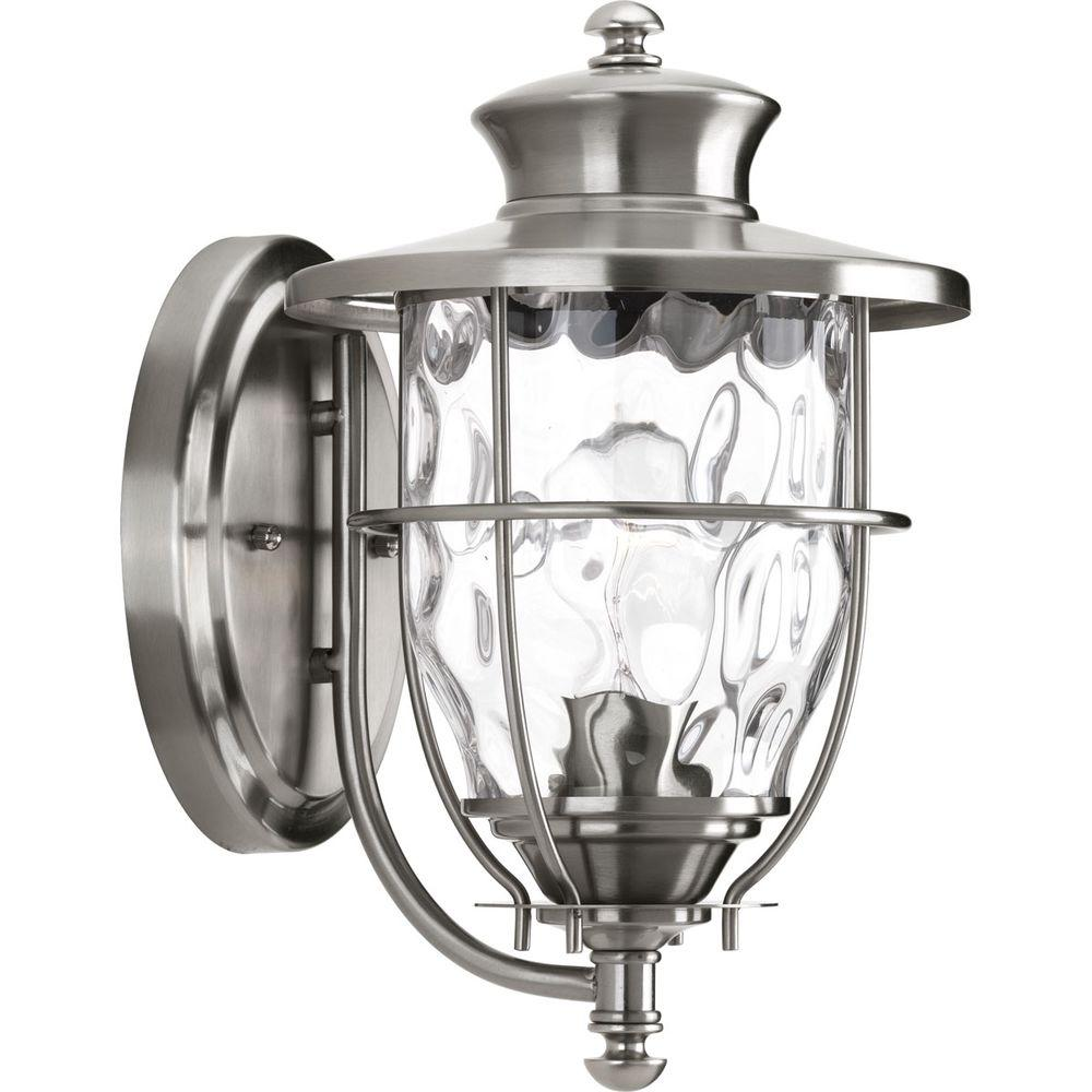 Progress Lighting Beacon Collection 1 Light Stainless Steel 12 9 In Outdoor Wall Lantern Sconce