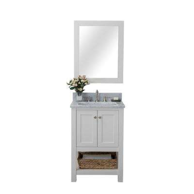 Wilmington 24 in. W x 34.2 in. H x 22 in. D Bath Vanity in White with Marble Vanity Top in White with White Basin