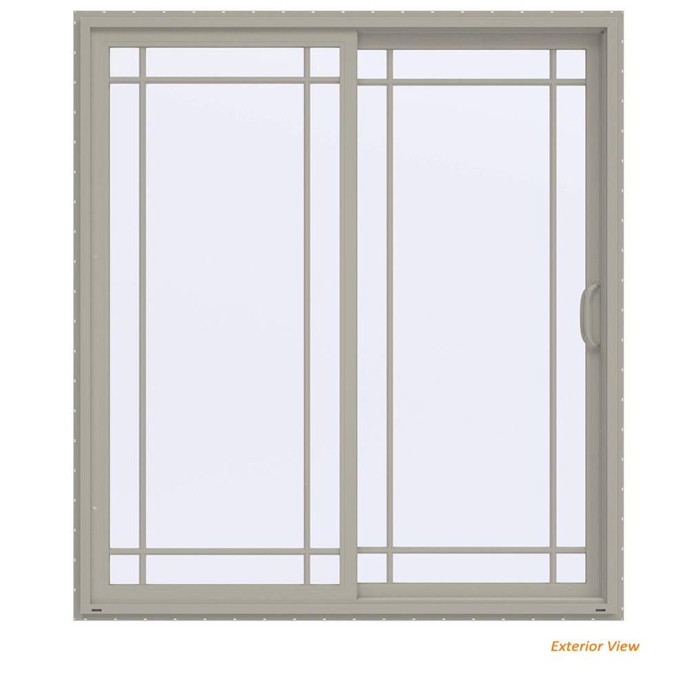 Jeld Wen 72 In X 80 In V 4500 Contemporary Desert Sand Vinyl Right Hand 9 Lite Sliding Patio Door Thdjw155900274 The Home Depot