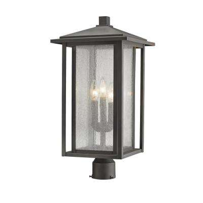 Caspian 3-Light Outdoor Oil Rubbed Bronze Post Light with Clear Ribbed Glass