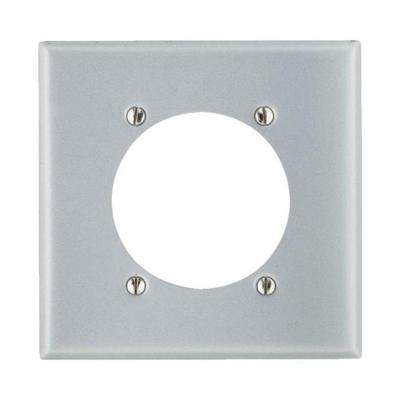 2-Gang Standard Size with 2.15 in. Dia Hole and Steel Power Outlet Wall Plate in Aluminum
