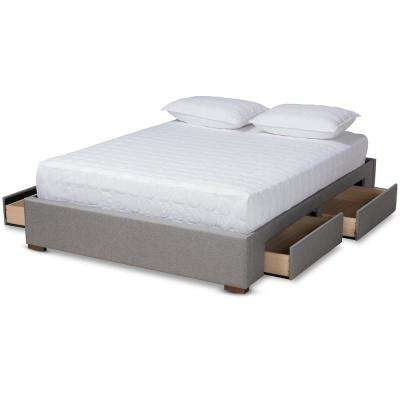 Leni Gray King Platform Storage Bed Frame