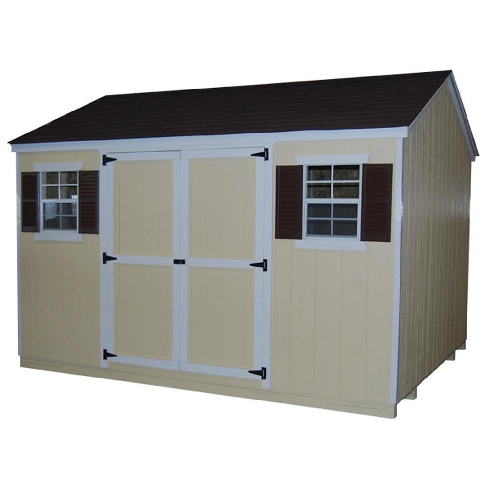 LITTLE COTTAGE CO. Value Workshop 10 ft. x 10 ft. Wood Shed Precut Kit with Floor