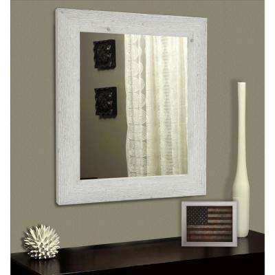 25.5 in. x 21.5 in. White Washed Antique Non-Beveled Vanity Mirror
