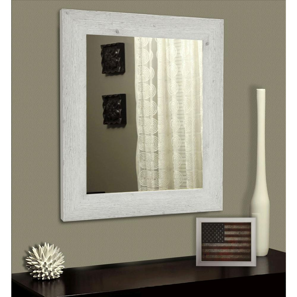 32 5 In X 26 White Washed Antique Non Beveled Vanity Mirror
