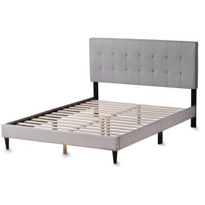 Cara Upholstered Stone Queen Platform Bed Frame with Square Tufted Headboard
