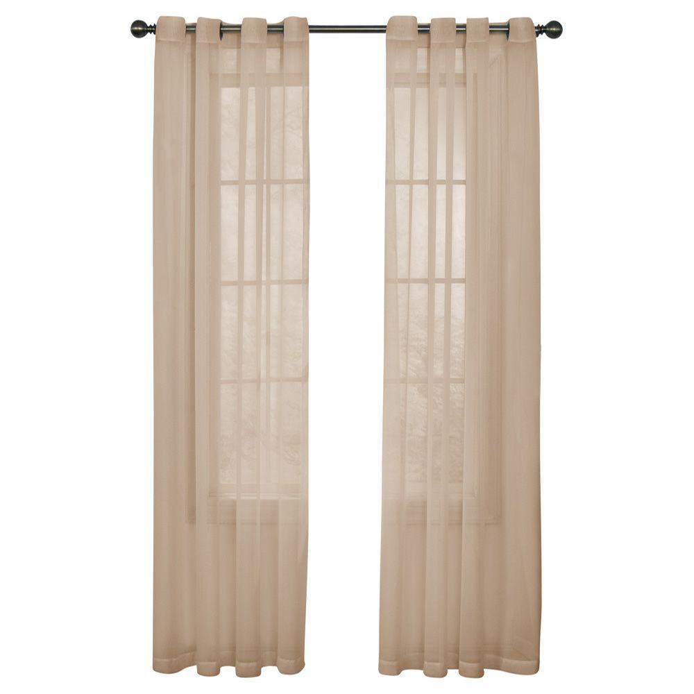 Curtain Fresh Arm and Hammer Odor Neutralizing Grommet Latte Sheer Curtain Panel, 108 in. Length