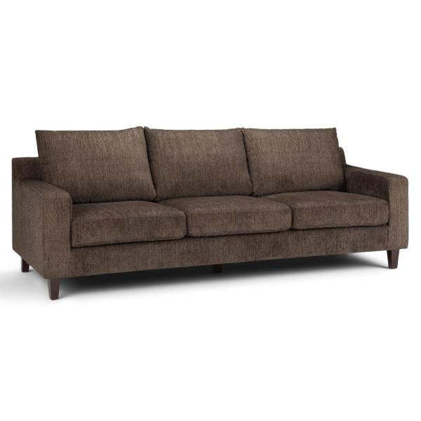 Simpli Home Marisa Contemporary 91 in. x 35 in. x 33 in. Sofa in Deep Umber Brown Chenille Look Fabric