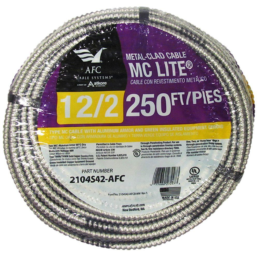 250 Ft Solid Mc Lite Cable 12 2 Aluminum Armored Cables Electrical Wiring Numbering System Ground