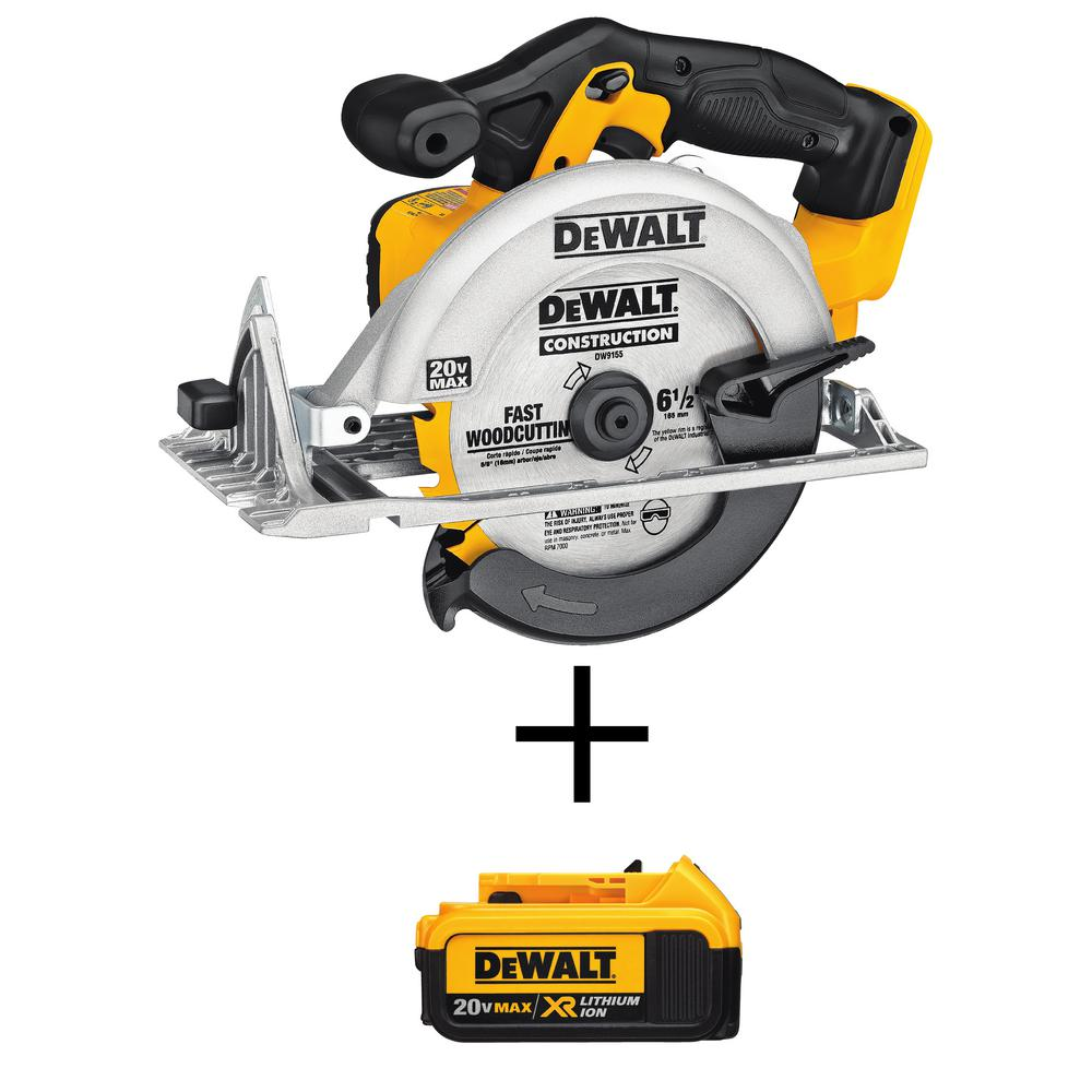 DEWALT 20-Volt 6-1/2 in. MAX Lithium Ion Cordless Circular Saw (Tool-Only) with Free 20-Volt Lithium Ion Battery Pack 4.0Ah