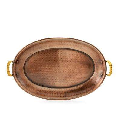 13-1/4 in. x 8-3/4 in. Antique Copper Oval Tray with Brass Handles