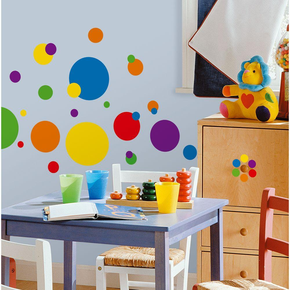 null 10 in. x 18 in. Just Dots Primary 31-Piece Peel and Stick Wall Decals