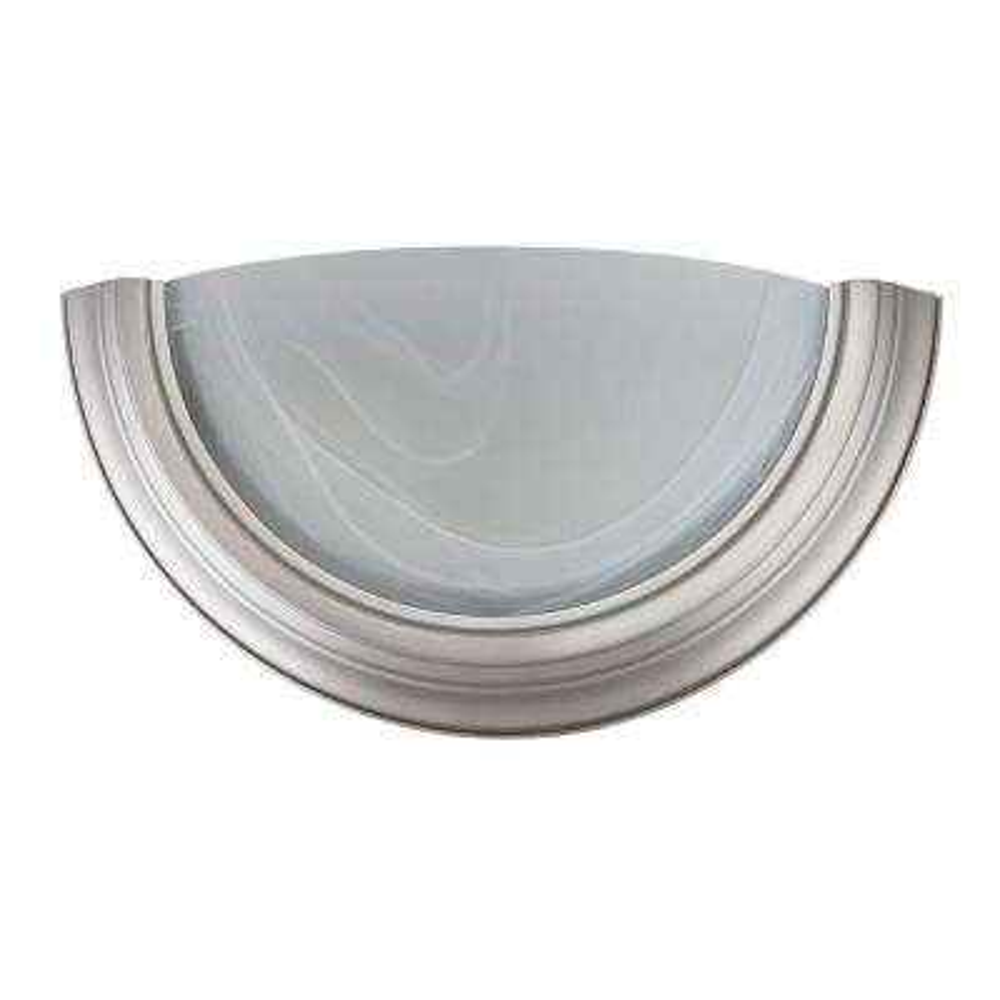 1-Light Satin Nickel Indoor Quarter Sconce with Faux Alabaster Glass