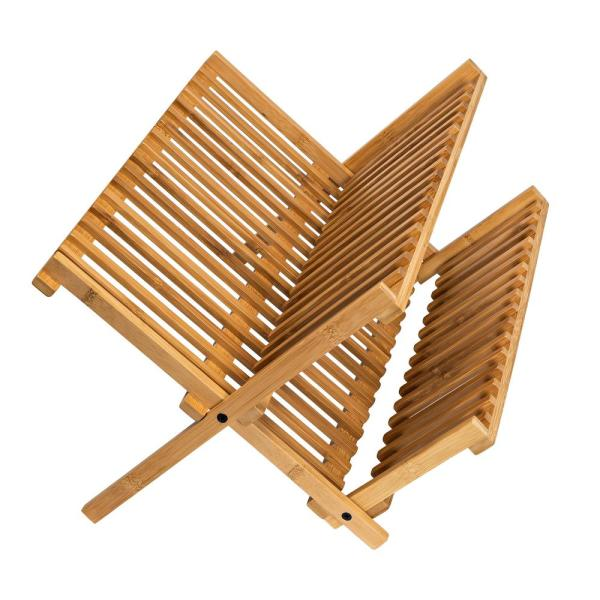 17.75 in. L x 13 in. W x 9.75 in. H Collapsible Dish Drying Rack in Bamboo