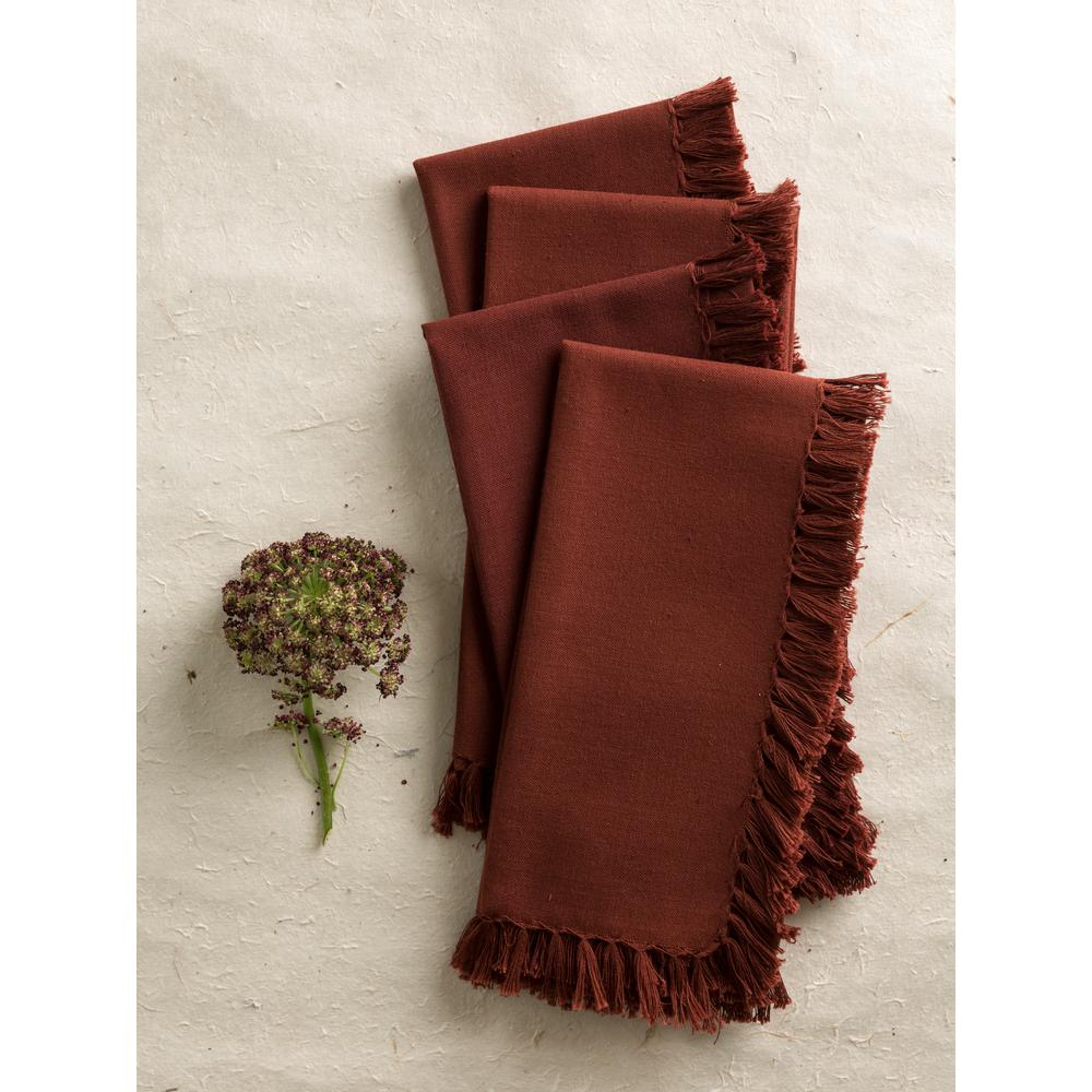 April Cornell Chocolate Essential Fringed Napkins (Set of 4)