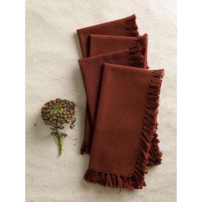 Chocolate Essential Fringed Napkins (Set of 4)