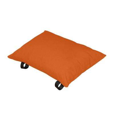 Polyester Orange Zest Lumbar Outdoor Throw Pillow