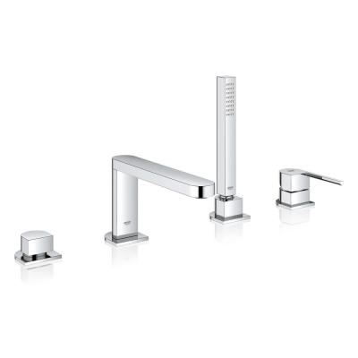 Plus Single-Handle Deck Mount Roman Tub Faucet with Hand Shower in Starlight Chrome