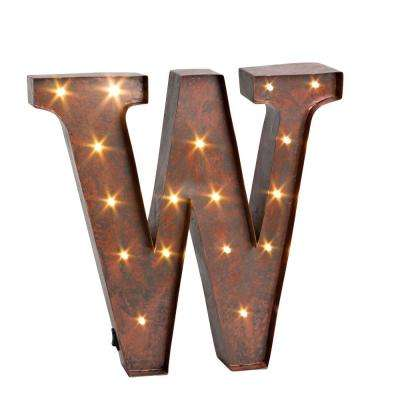 """12 in. H """"W"""" Rustic Brown Metal LED Lighted Letter"""