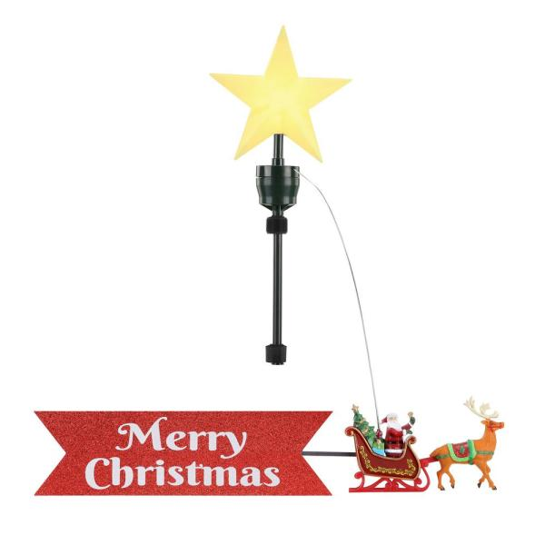 Santa's Sleigh Animated Tree Topper with Banner