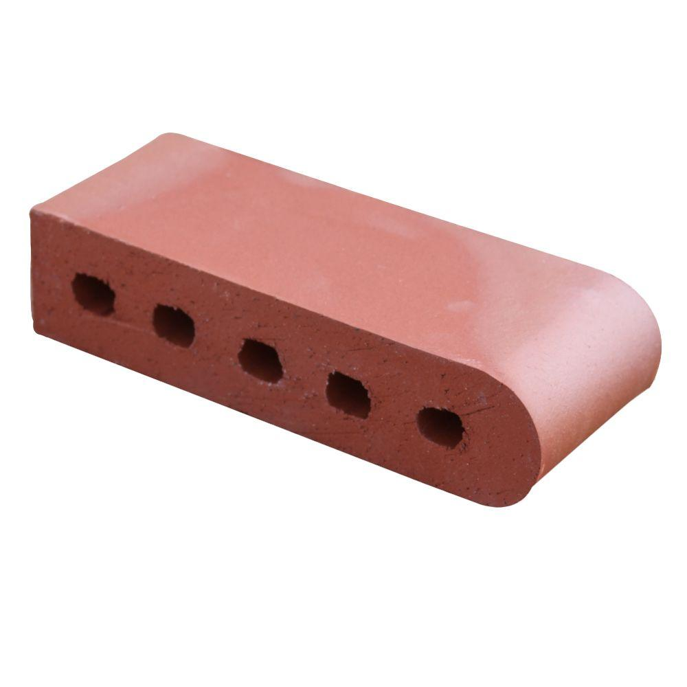 null Bullnose Red Flashed 9 in. x 3.5 in. x 2.19 in. Cored Clay Brick-DISCONTINUED