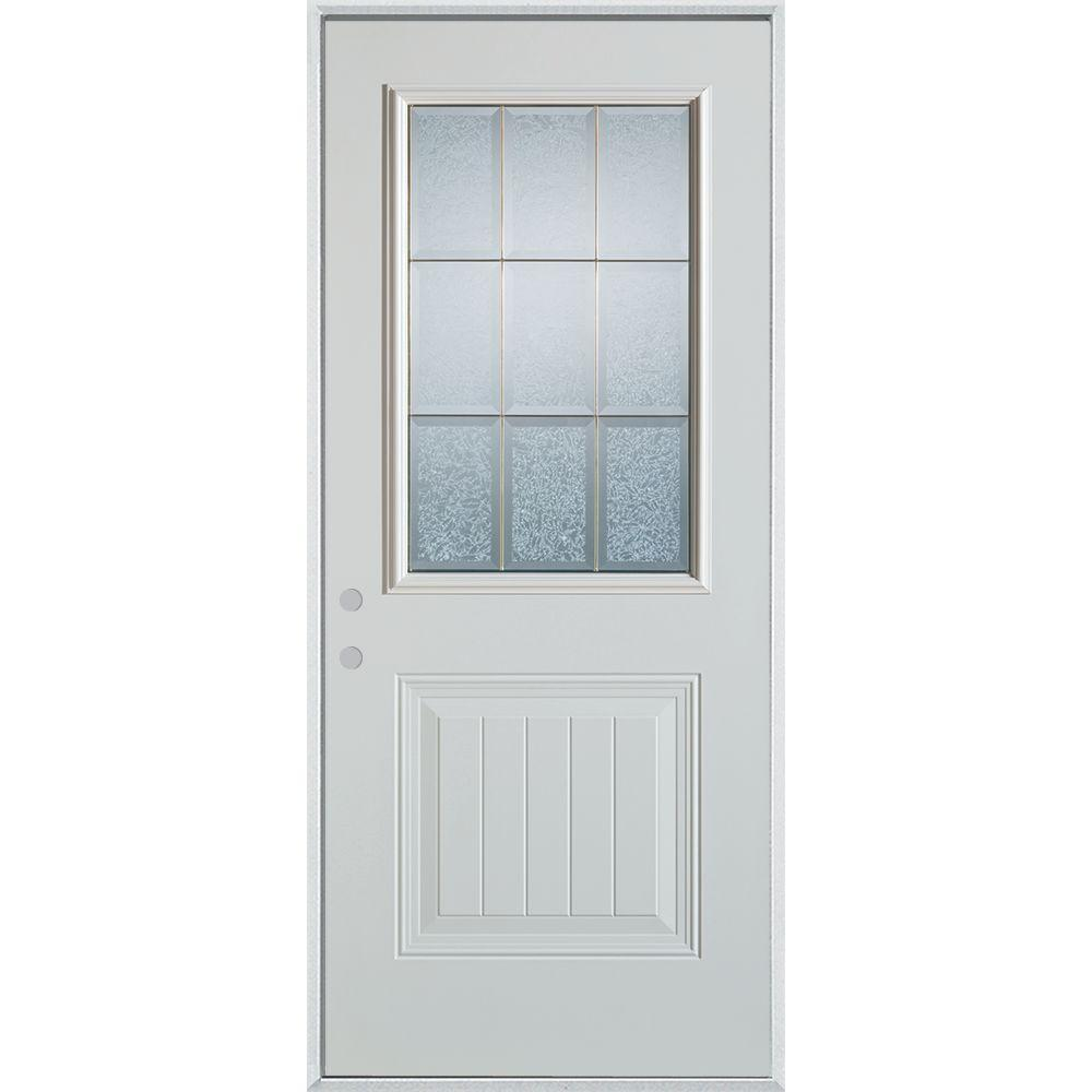 Stanley Doors 32 In X 80 In Geometric Glue Chip And Zinc 12 Lite 1 Panel Painted Right Hand Inswing Steel Prehung Front Door