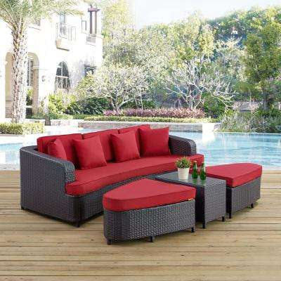 Monterey 4-Piece Wicker Patio Conversation Set in Brown with Red Cushions