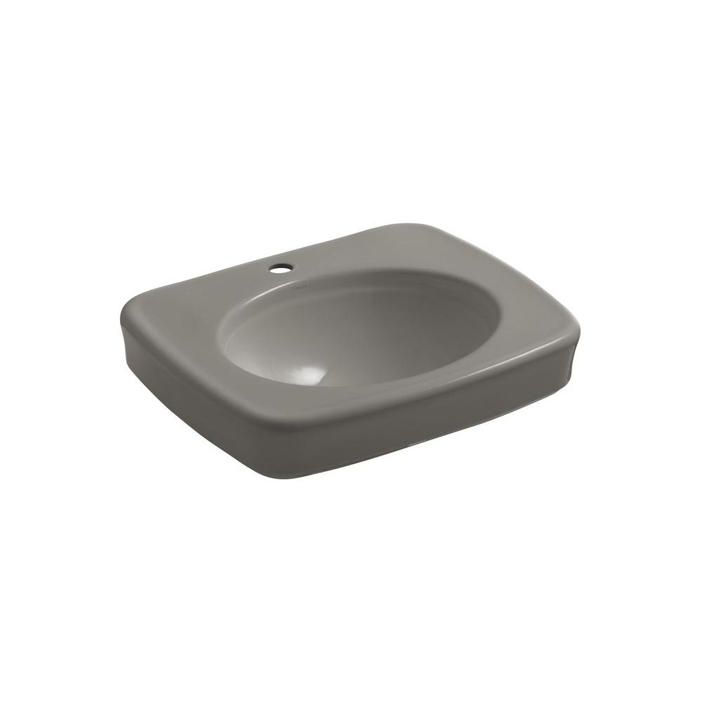 KOHLER Bancroft Vitreous China Pedestal Bathroom Sink in Cashmere with Overflow Drain