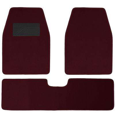 Solid Burgundy 3-Piece 26.5 in. x  19.3 in. Floor Mats