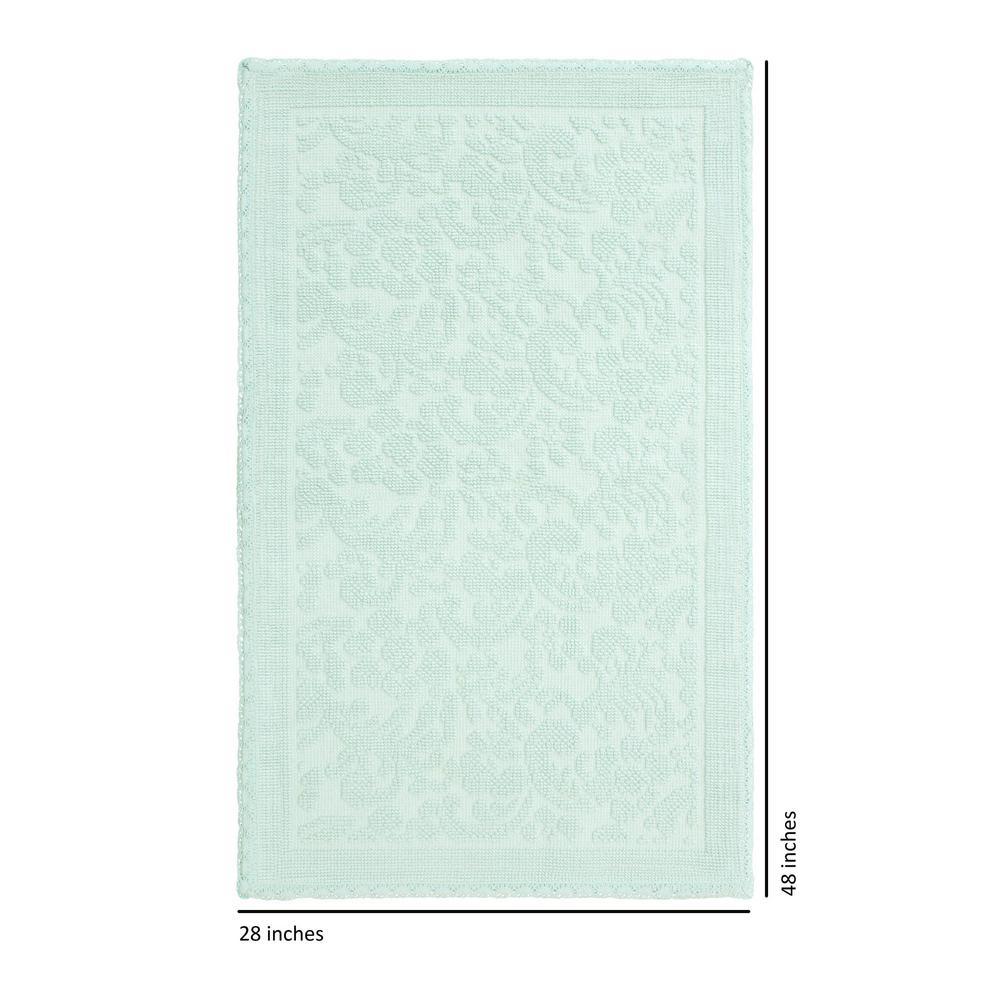 Turkish Cotton Crochet 28 in. x 48 in. Bath Rug in Aqua