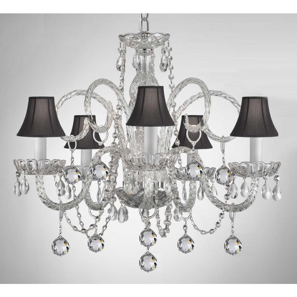 Empress 5 Light Crystal Chandelier With Black Shades And