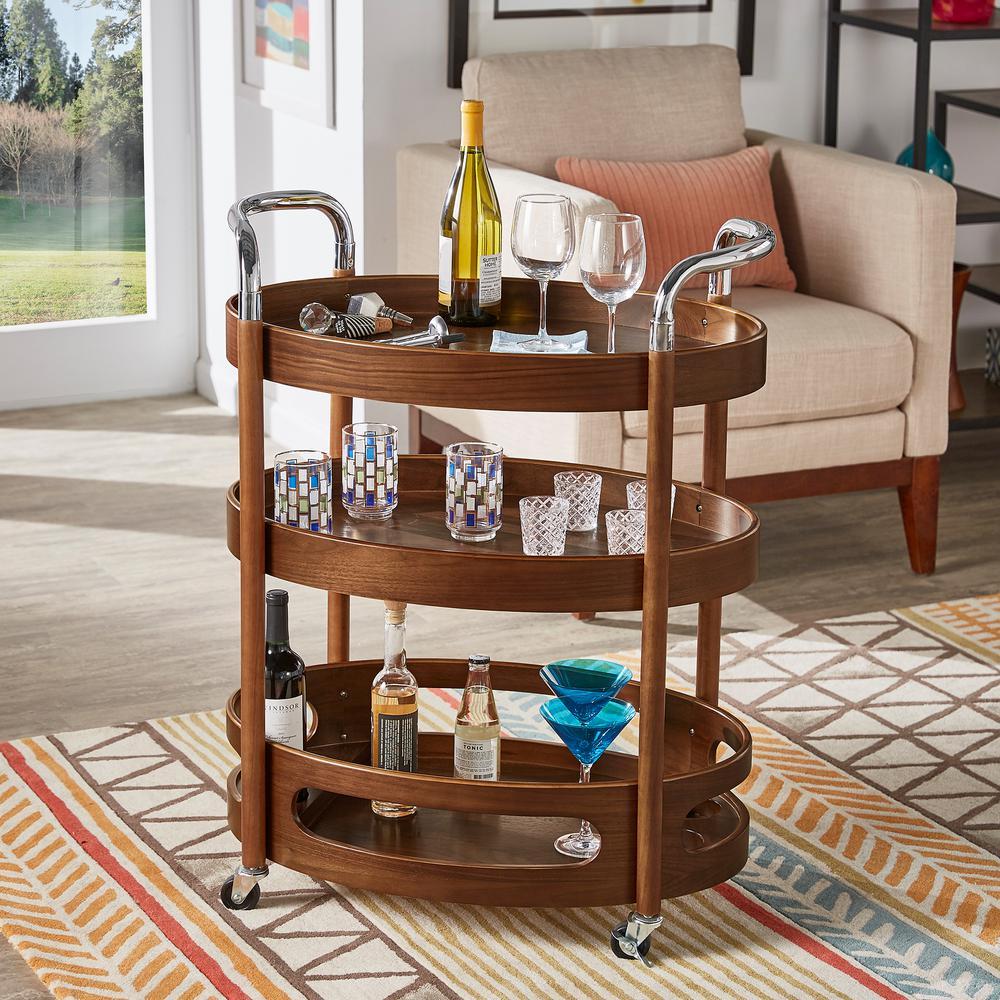 Walnut Oval Bar Cart