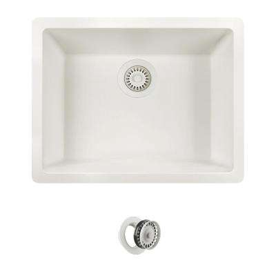 All-in-One Dualmount Quartz 22 in. Single Bowl Kitchen Sink in White