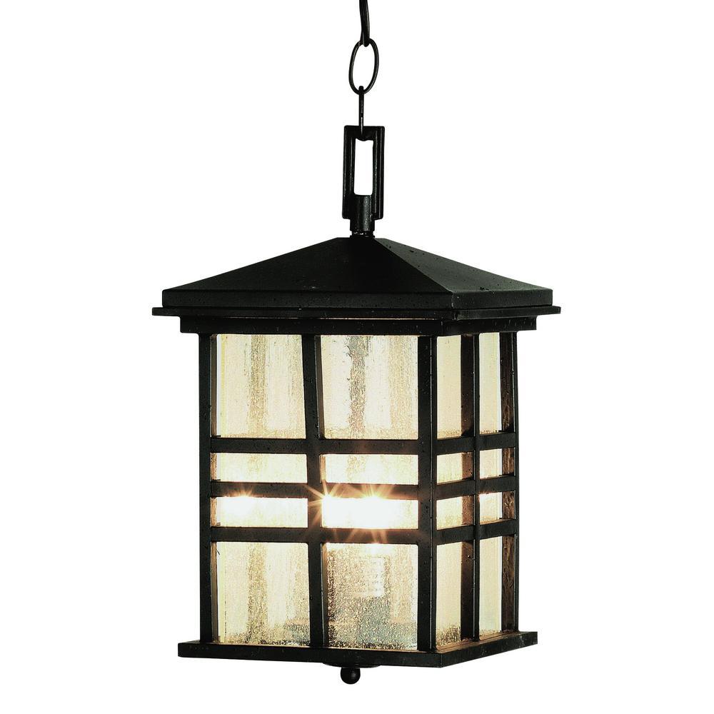 Black Outdoor 2-Light Hanging Lantern
